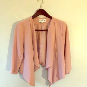 Blush Drape-front blazer